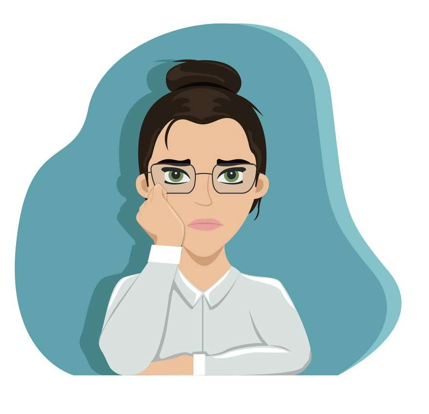 Tired girl at work at the office table. Office worker. Boredom. Flat vector illustration.